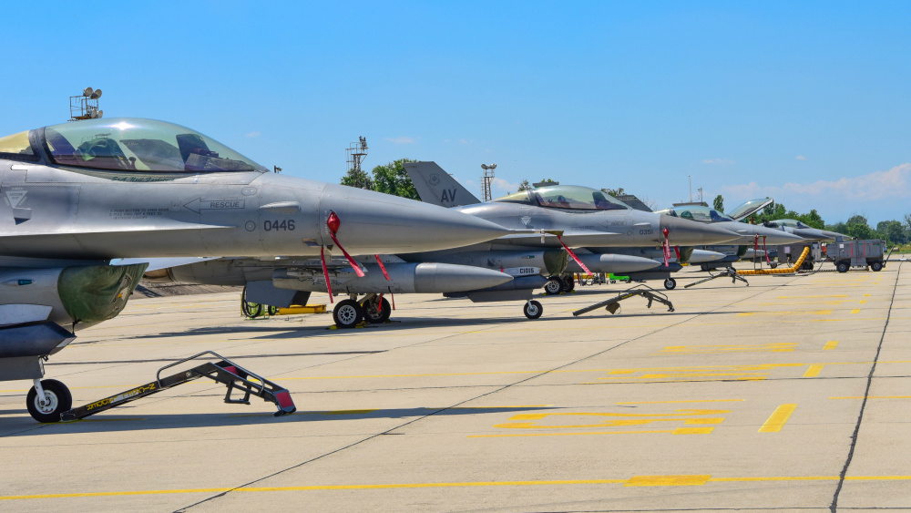 U.S. Air Force F-16 Fighting Falcons assigned to the 555th Fighter Squadron (FS) park on the flightline in preparation for Thracian Star 21 at Graf Ignatievo Air Base, Bulgaria, July 9, 2021.