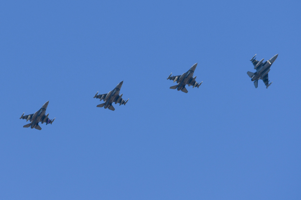 Four U.S. Air Force F-16 Fighting Falcons assigned to the 555th Fighter Squadron prepare to land at Graf Ignatievo Air Base, Bulgaria, for exercise Thracian Star 21, July 9, 2021.