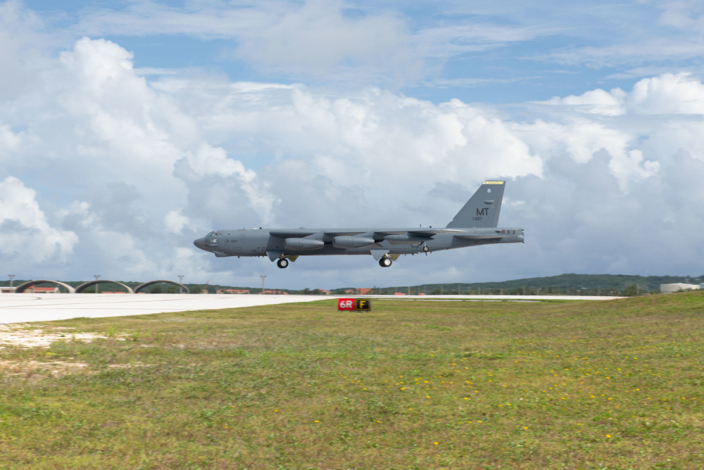 U.S. Air Force B-52H Stratofortress from the 5th Bomb Wing, Minot Air Force Base North Dakota, prepares to land at Andersen Air Force Base, Guam, for a Bomber Task Force deployment, July 15, 2021.