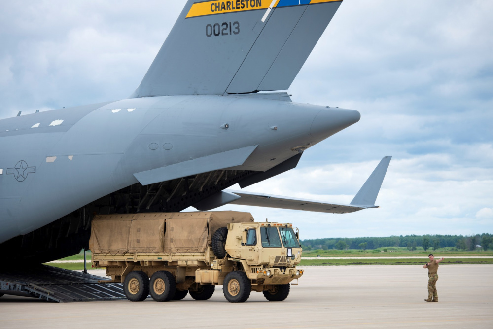 An Air Force C-17 Globemaster III from Joint Base Charleston, S.C., carrying Soldiers with the 3rd Brigade Combat Team, 10th Mountain Division of Fort Polk, La., taxies on the runway July 7, 2021, as part of an Emergency Deployment Readiness Exercise (EDRE) at Volk Field, Wis.