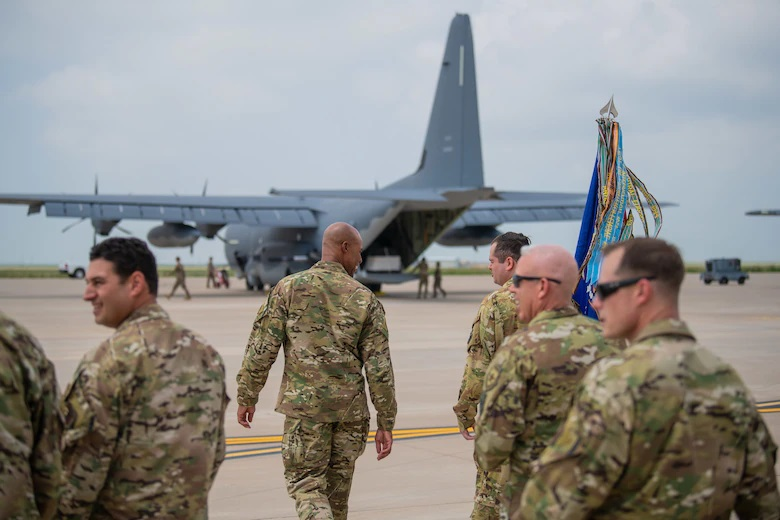 Leaders with the 27th Special Operations Wing approach the flightline to receive a new AC-130J Ghostrider gunship assigned to the 27th Special Operations Group Detachment 2 July 19, 2021, at Cannon Air Force Base, N.M.