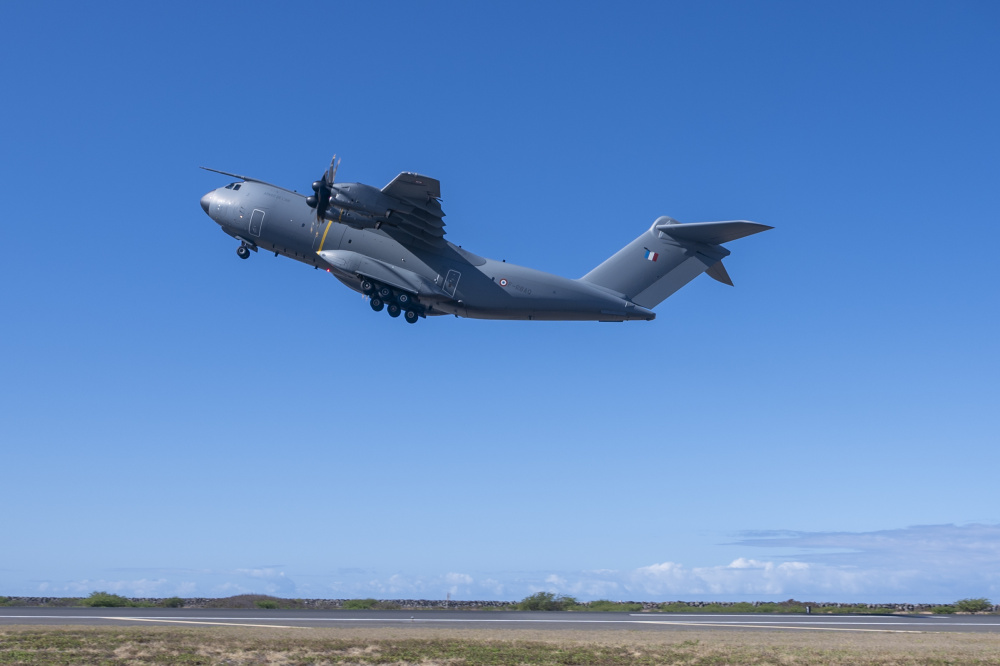 A French Air and Space Force A400M Atlas takes-off at Honolulu International Airport, Hawaii, June 29, 2021.