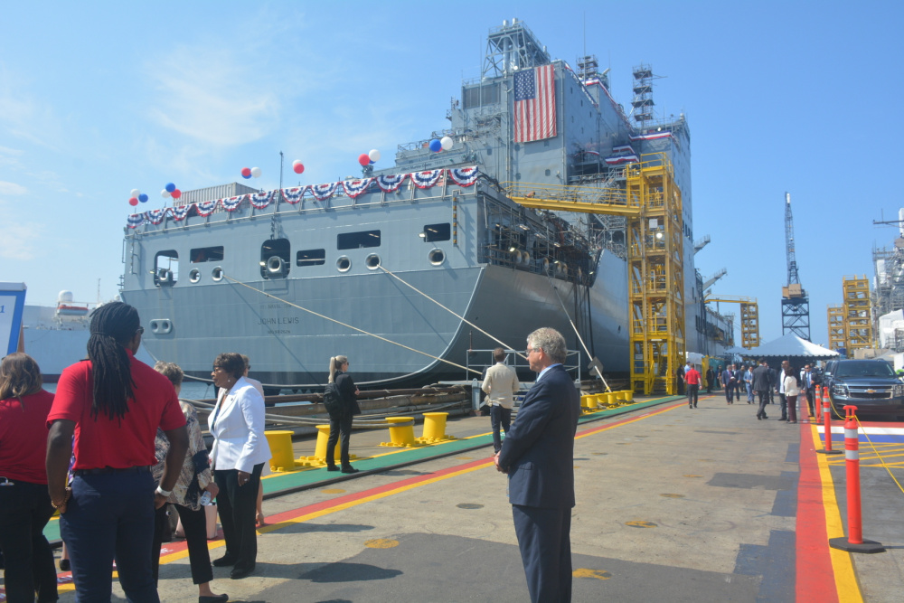 Fleet replenishment oiler USNS John Lewis (T-AO 205), the Military Sealift Command's newest ship, was christened during a ceremony at the General Dynamics NASSCO shipyard in San Diego, Calif., today.