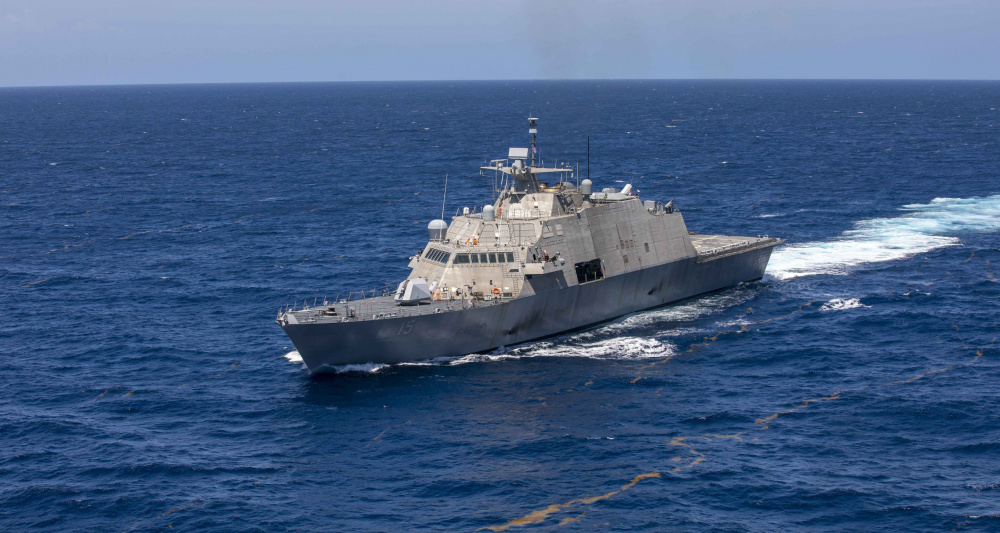 The Freedom-variant littoral combat ship USS Billings (LCS 15) transits the Caribbean Sea, July 10, 2021.