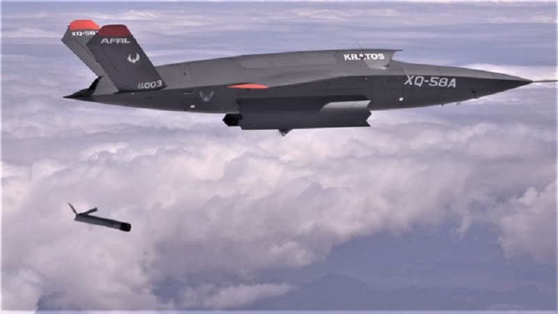 Kratos XQ-58A Valkyrie's weapons bay operation in flight