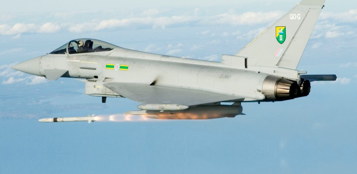 Eurofighter Typhoon based at RAF Coningsby, Lincoln, England firing a MBDA ASRAAM missile. The missile is fired against the flare pack towed by a Mirach target drone and was fired at the Aberporth range in Cardigan Bay, Wales. The Pilot firing the missile was Flt Lt B Cooper of 3(F) Squadron and the chase aircaft was flown by Flt Lt Sally Cronin of 100 Squadron RAF Leeming.