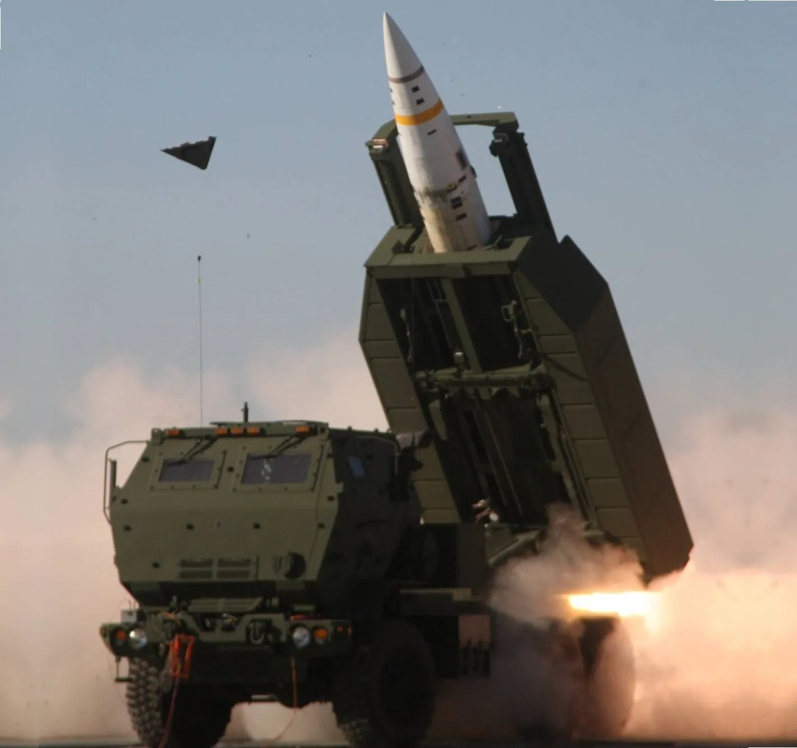 An Army Tactical Missile System (ATACMS) being launched by a M142