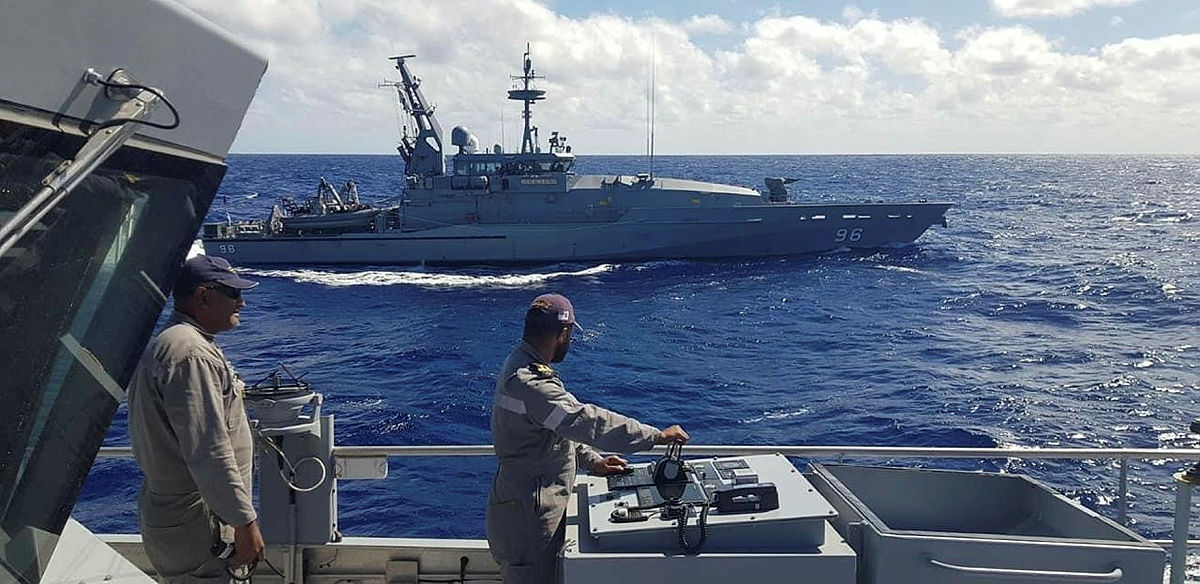 HMAS Glenelg and RFNS Savenaca sail in-company in the waters between Fiji and Vanuatu as part of Operation Island Chief.