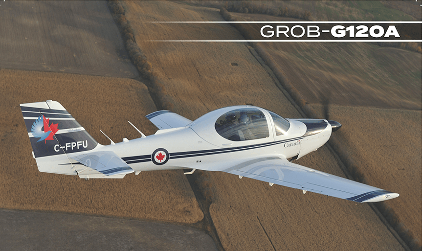 The Grob-G120A is the primary flight aircraft used in the oyal Canadian Air Force for pilot training.