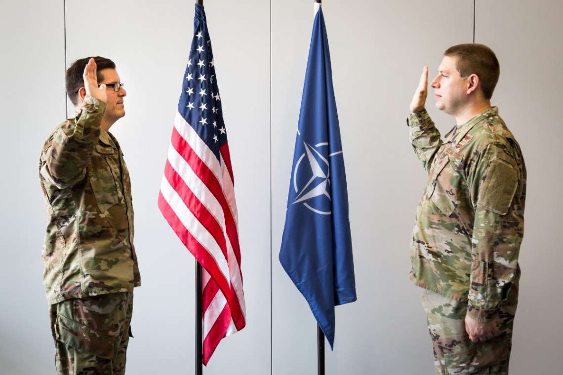 Major Matthew Leines, a founding member of the NATO Space Centre, officially joined the U.S. Space Force during a ceremony on 12 Aug.