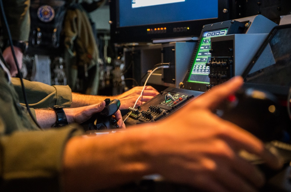 U.S. Marine assigned to Marine Aerial Refueler Transport Squadron (VMGR) 252, preform preflight checks on the Harvest Hercules Aircraft Weapons Kit (HAWK) aboard a KC-130J Super Hercules at Marine Corps Air Station Miramar, California, Feb. 26, 2019.