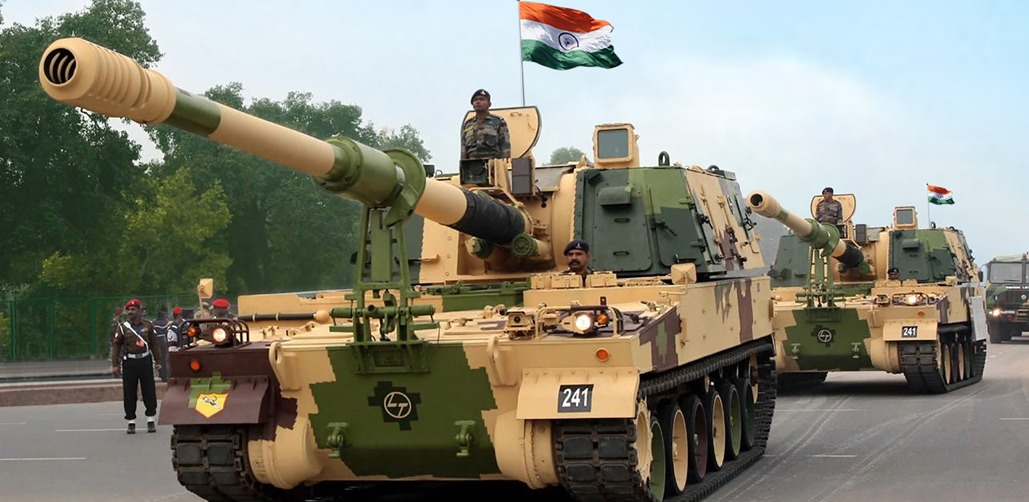 Indian Army K9 Vajra 155 mm tracked self-propelled howitzer