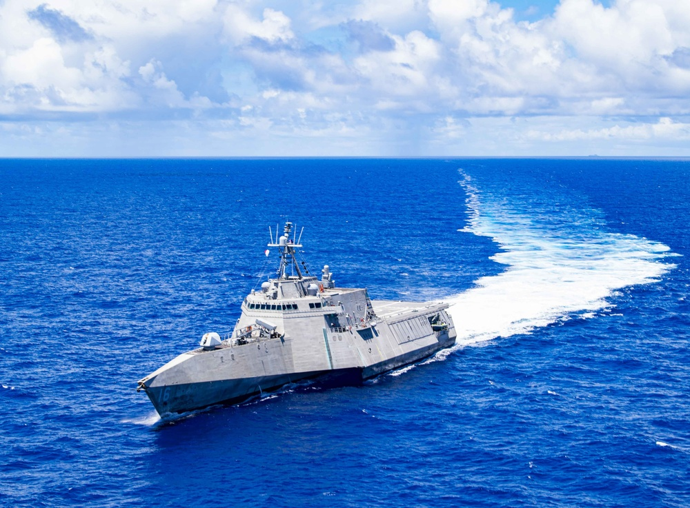 The Independence-variant littoral combat ship USS Tulsa (LCS 16) sails in the Philippines Sea July 28, 2021.