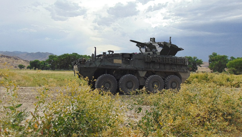 Stryker Double V hull infantry carrier vehicle fitted with Samson 30mm Medium Caliber Weapon System (MCWS)