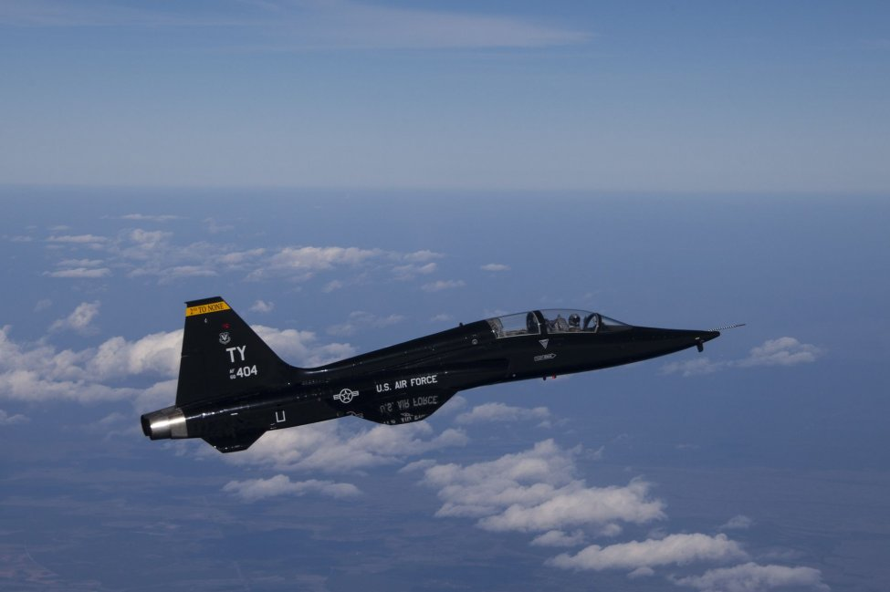 The Air Force awarded a contract on Monday to integrate augmented reality onto the T-38 jet trainer, similar to the one pictured en route to a training range over the Gulf of Mexico.