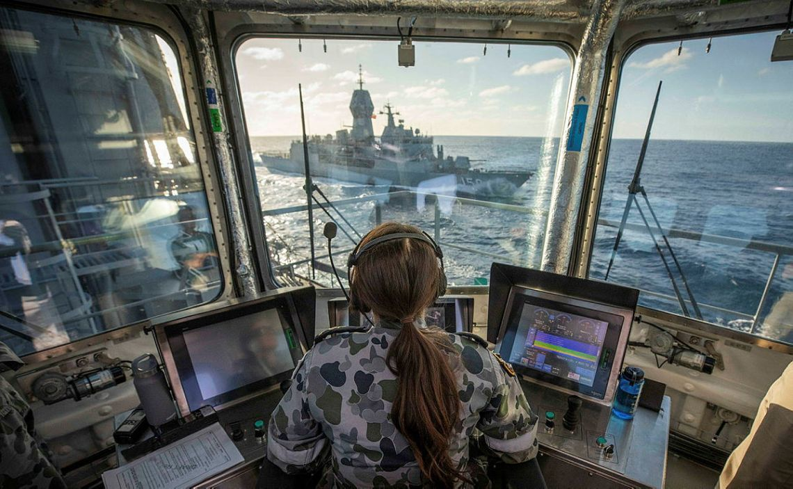 Royal Australian Navy HMAS Supply (A195) Conducts First Replenishment at Sea
