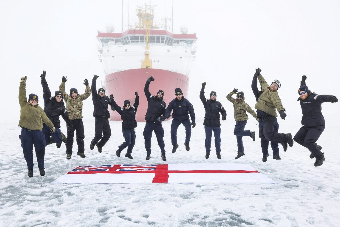 HMS Protector's Hydrographic department on the ice.