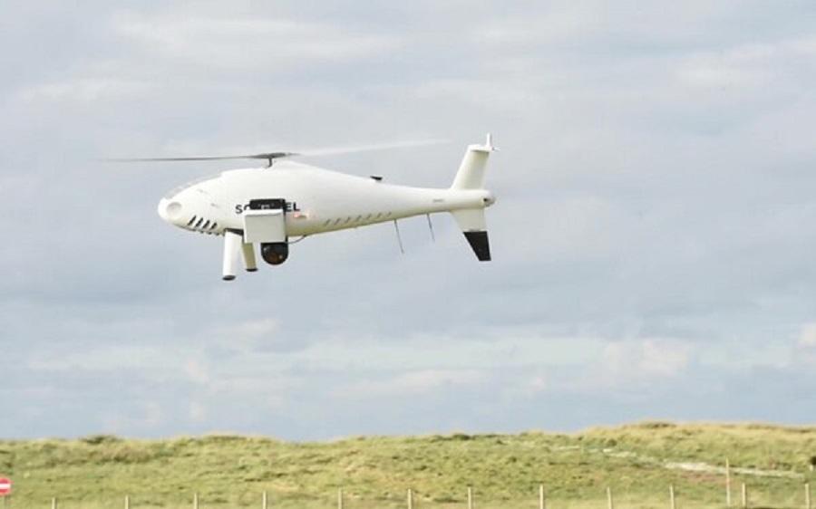 Schiebel lands Cam Copter S-100 after a test flight at Benbecula Rangehead.