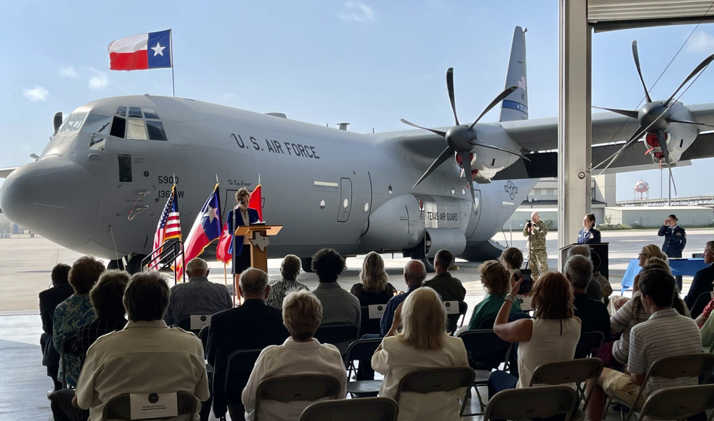 US Air National Guard 136th Airlift Wing Receives First C-130J Super Hercules Military Transport