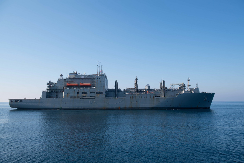 The dry cargo and ammunition ship USNS Matthew Perry (T-AKE 9) steams in the North Arabian Sea.