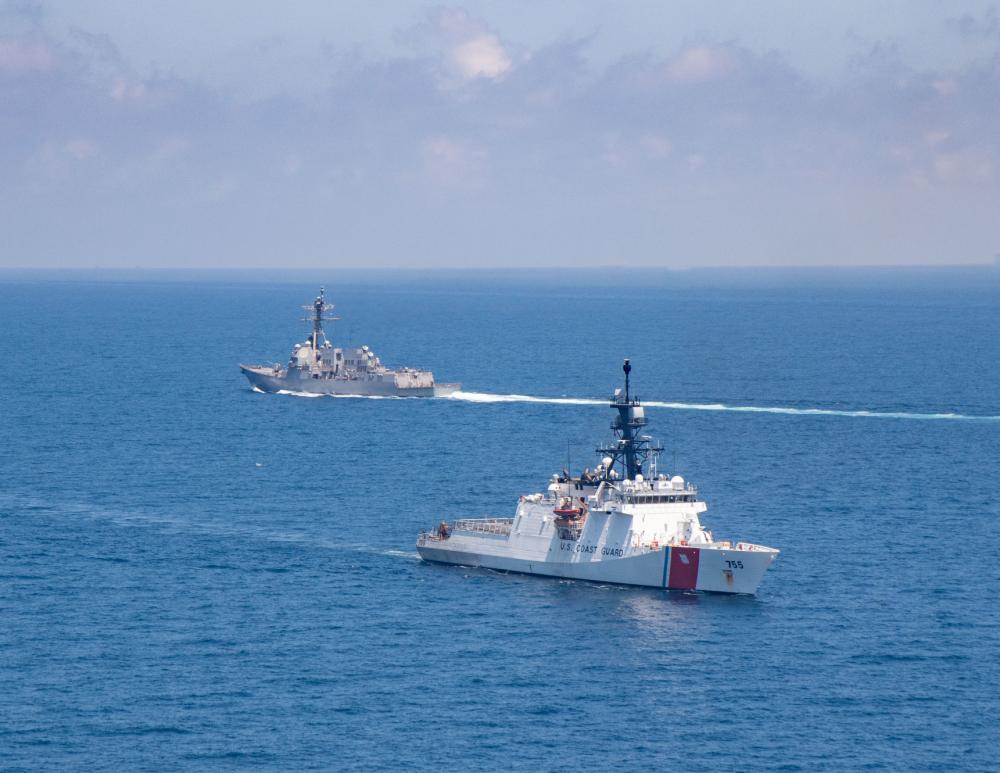 US Navy USS Kidd and US Coast Guard USCGC Munro Send Ships Through Taiwan Strait