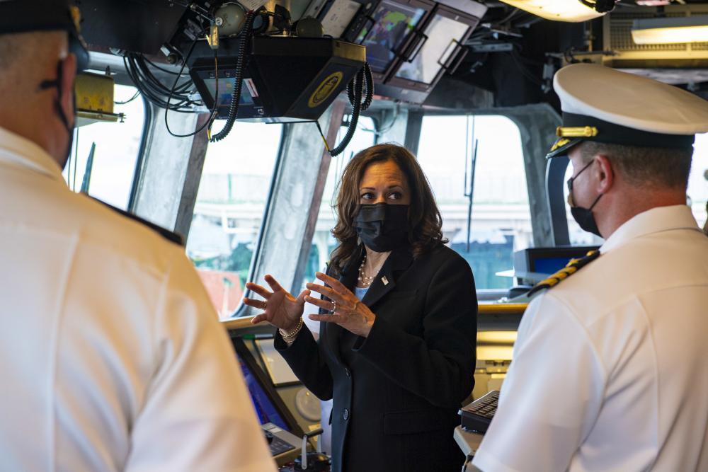 ice President Kamala Harris visits the Independence-variant littoral combat ship USS Tulsa (LCS 16), Aug. 23, 2021.