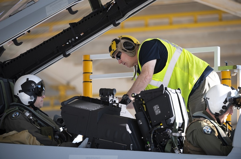 Boeing's ramp team prepares DCMA pilots for flight ahead of delivering the first Block III Super Hornet.