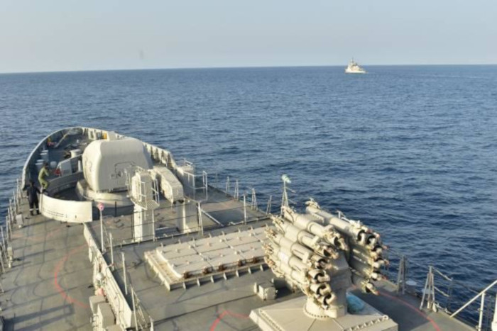 Indian Navy INS Tabar Conducts Naval Exercises with Royal Moroccan Navy Corvette Lieutenant Colonel Errhamani