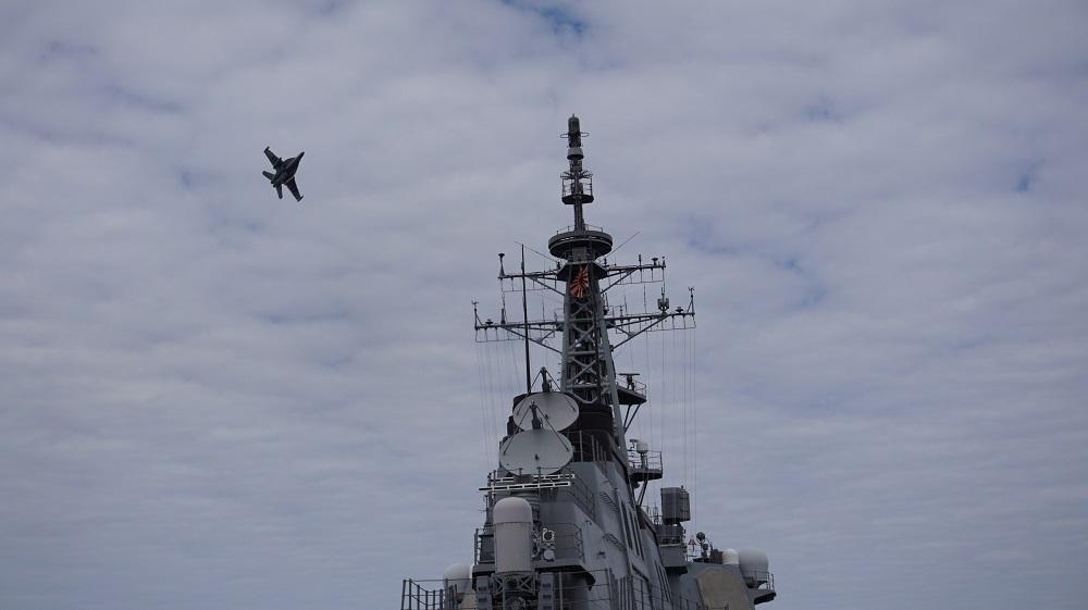 JMSDF Destroyer JS Myoko Conducted Electronic Warfare with US Navy EA-18G Growler