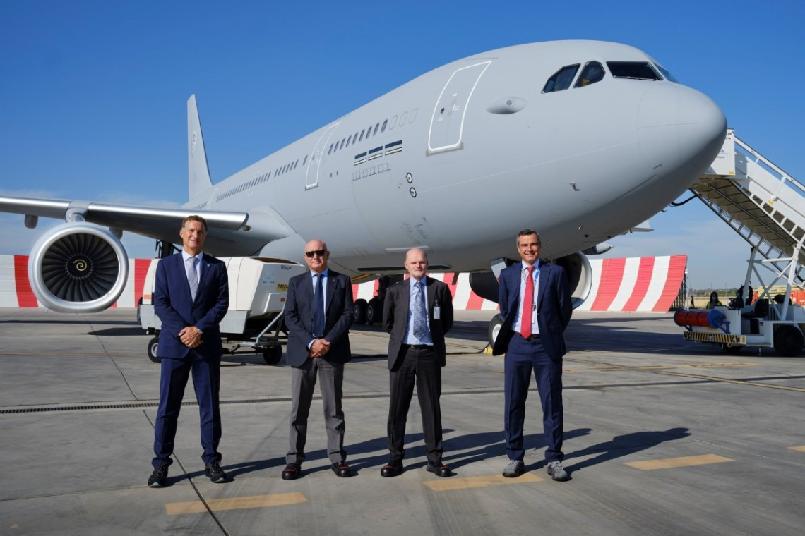 Representatives from Airbus Defence, OCCAR and NSPA before take off in Getafe, Madrid.