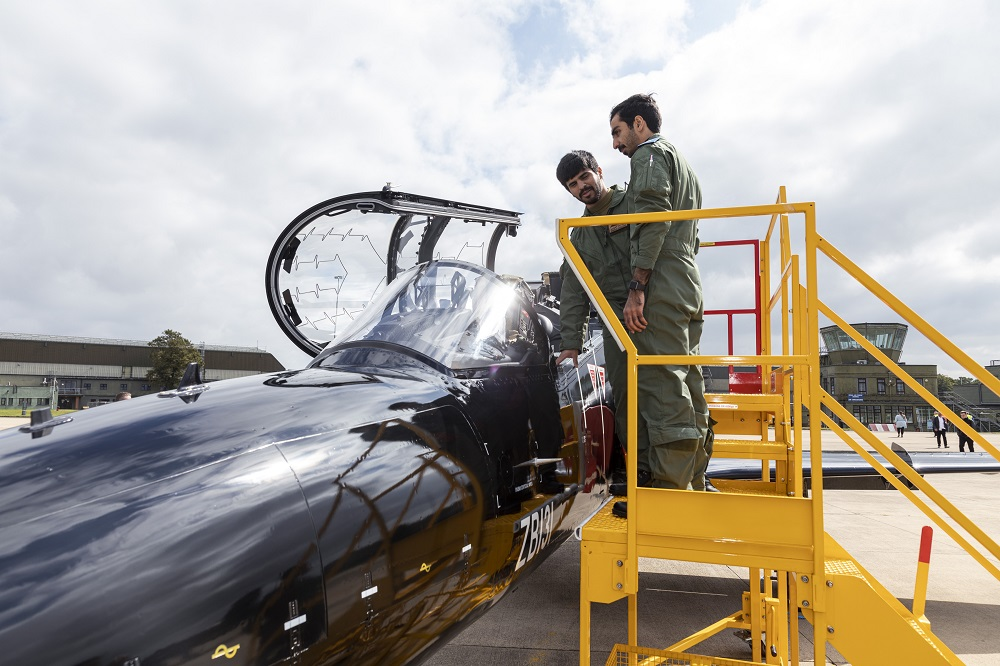 Hawk aircraft arrive at RAF Leeming, North Yorkshire on 1st September 2021 as part of the new Joint Hawk Training Squadron taking place at the RAF Station.