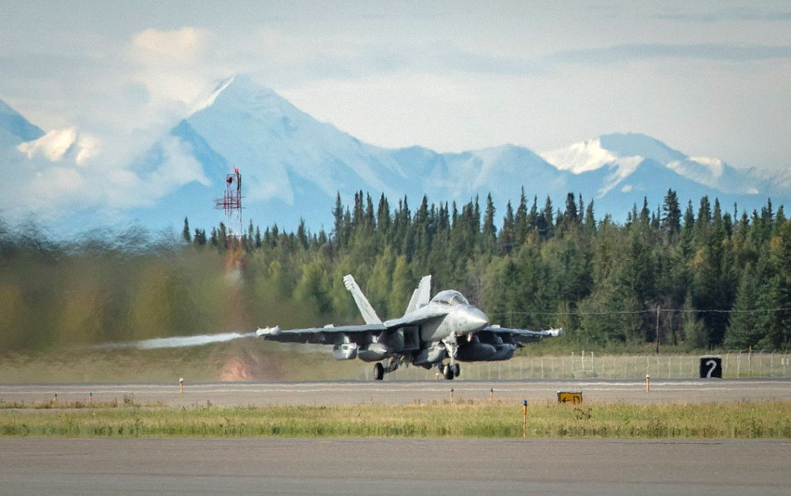 A Royal Australian Air Force EA-18G Growler aircraft from No. 6 Squadron, taxis along the runway at Eielson Air Force Base in Alaska, United States.