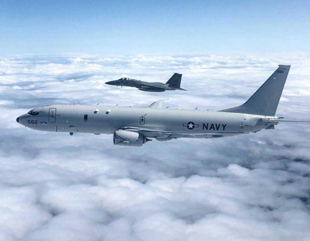 US Air Force Fighters Conduct Joint Training with US Navy Anti-sub Aircraft