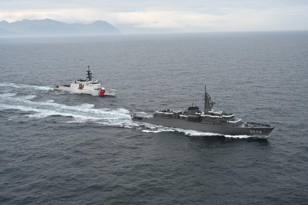US Coast Guard CGC Kimball and Japanese Navy Training Vessel JS Kashima Conduct Exercise in Alaska