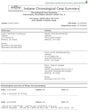 Indiana Chronological Case Summary for Cause 18C04-0811-SC-2472_Page_1