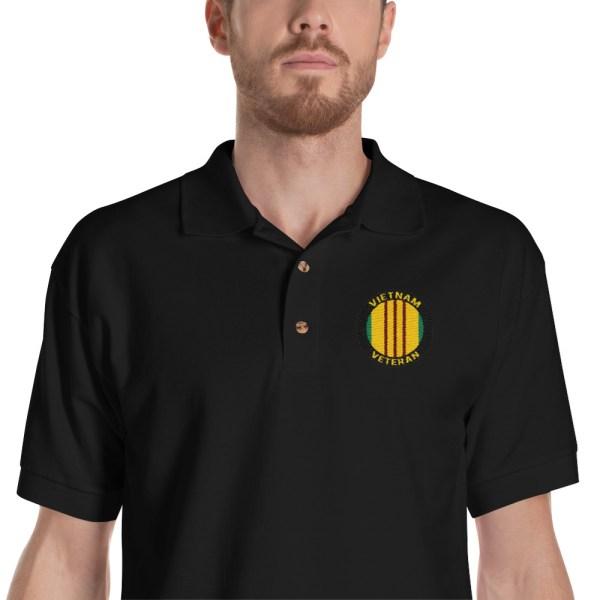 Embroidered Vietnam Veteran ribbon polo shirt