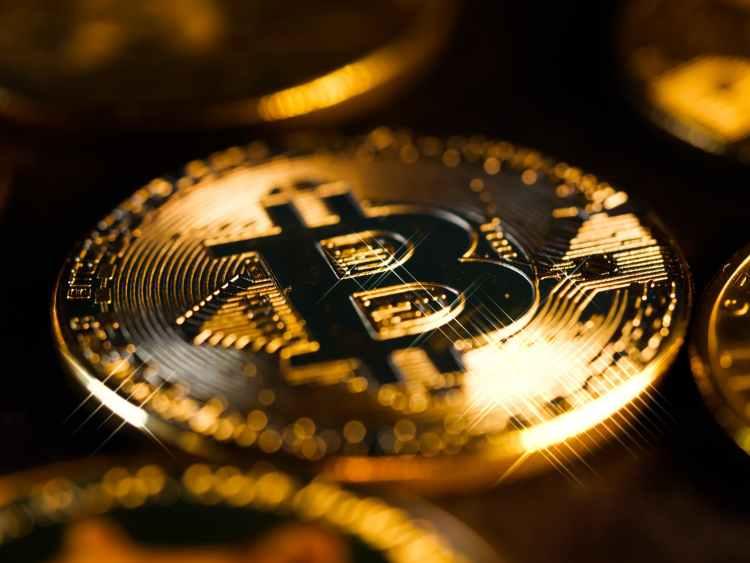 a close up shot of a gold coin