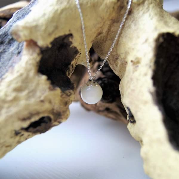 Perlenhalskette Silbermond