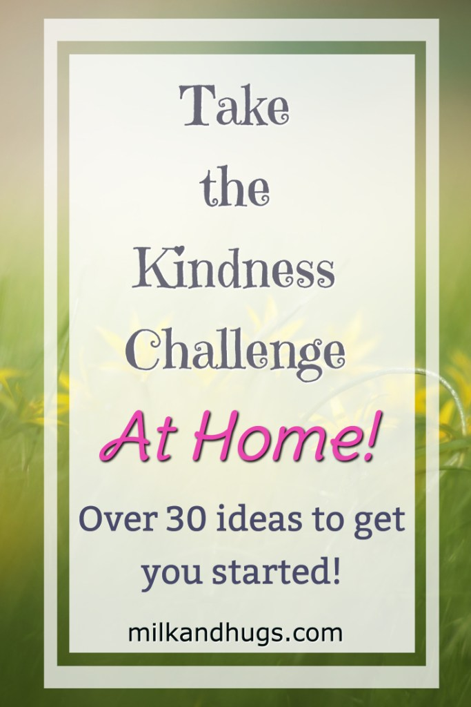 Take the Kindness Challenge at Home! Here are over 30 ideas to get you started! #Kindness #Family #Gratitude #GKC #kids