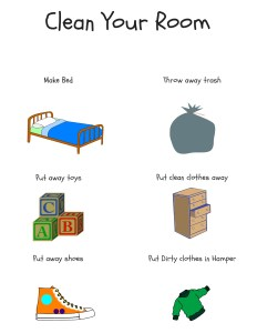 How to help your kids learn to clean their room! Free poster and Room Chore Chart