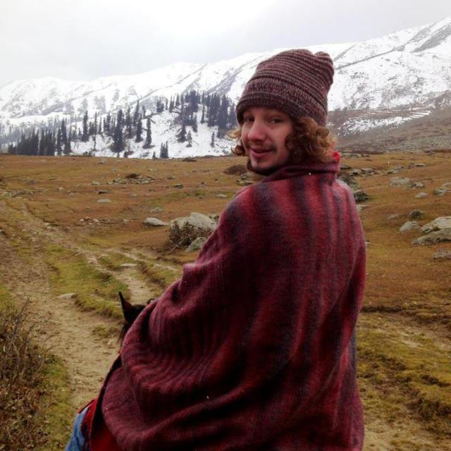 Alex in Gulmarg, India. Gulmarg is a town within the Himalayas with a population of approximately 664.