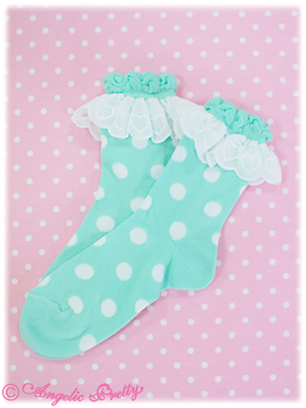 Angelic Pretty Polka Dot Crew Length Socks Mint