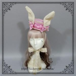 Foxcherry Rabbit Ears Wild Flat Top Hat Pink