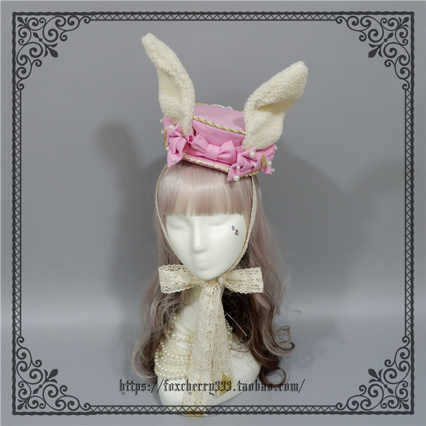 Foxcherry Rabbit Ears Wild Flat Top Hat Pink