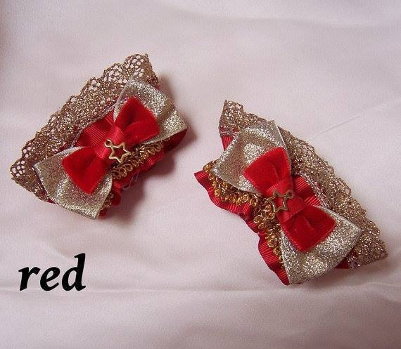 Peacockalorum CIRCUS Sparkle Bow Star Wrist Cuffs Gold x Red