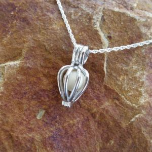 Solid Sterling Silver Heart-Shaped Pearl Cage Pendant - Milk Vine Jewelry