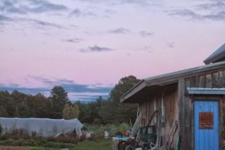 farm door at dusk