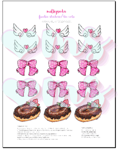A printable sheet featuring 6 wing sets, 6 pink bows, and 6 chocolate iced donuts.