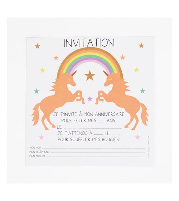 invitations d anniversaire licorne milkybunnies