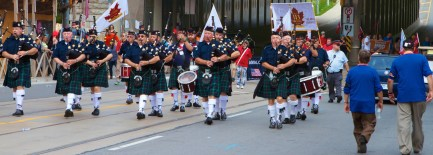 Toronto Transit Workers Local 113 following their bagpipers (Toronto Labour Day Parade, September 2, 2013)